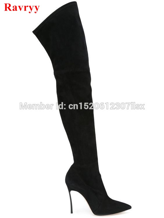 Sexy Pointed Toe Women High Heel Boots Stretch Slim Thigh High Boots Fashion Over the Knee Boots Metal Thin Heels Boots Shoes allbitefo fashion sexy high heels stretch fabric over the knee boots brand pointed toe high heel shoes women boots size 33 43