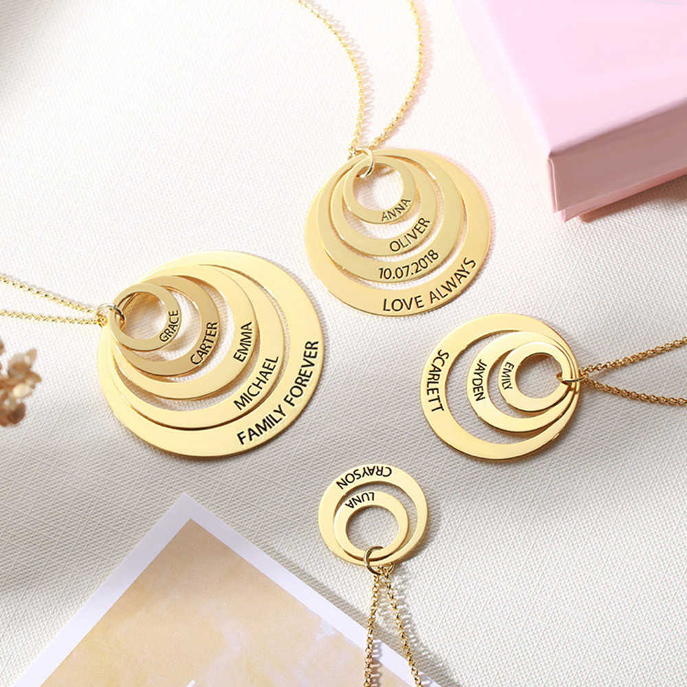 Sweey Dropshipping Custom Engraved Family Stacked Circle Necklace Family Necklace Engraved Mother's  Gift for Ebay/Amazon/Etsy