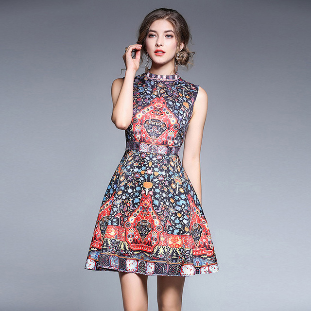 High Quality Women Dresses Sexy 2018 Party Club Vintage Boho Summer Evening Party Club Office Casual Floral Spring Dress