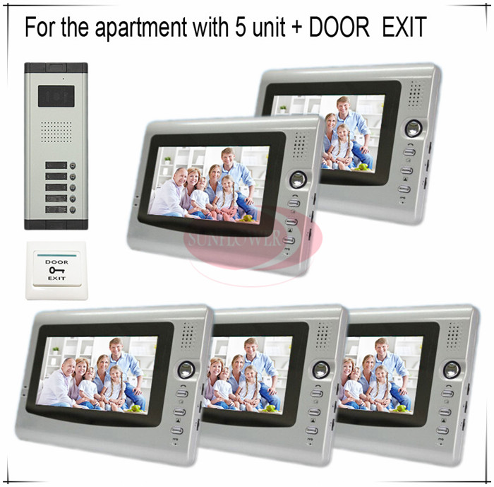 Stable Signal Video Door Phones Intercom Systems For 5 Apartments With 7 LCD Indoor Monitors 5 Keys CCD Outdoor Camera hc520 2 5 lcd indoor