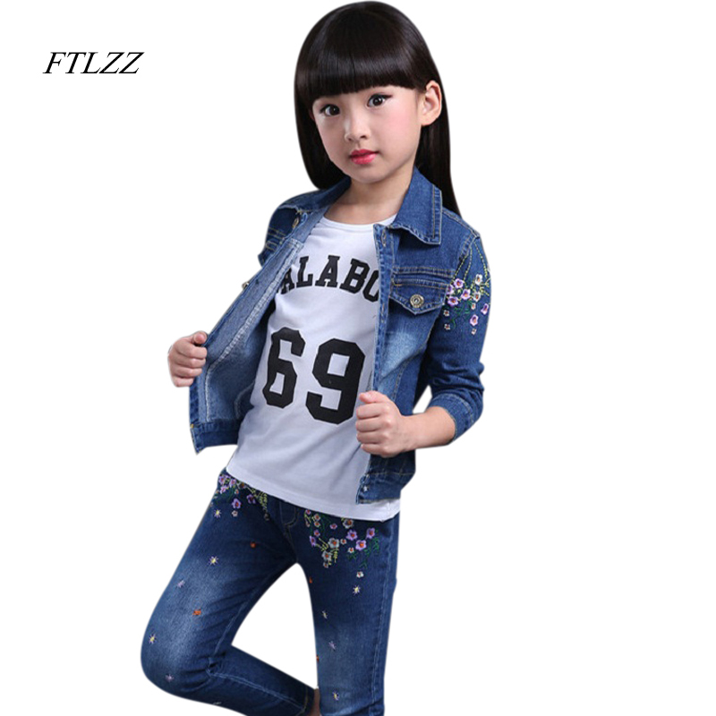 2017 Girls Print Flowers Denim Clothing Sets Children Coat + Pants + Shirts Denim Wear Spring & Autumn Suits For Girls Kids children s new autumn girls cowboy suits denim baby denim jacket shorts two pieces kids clothing sets blue cartoon printing