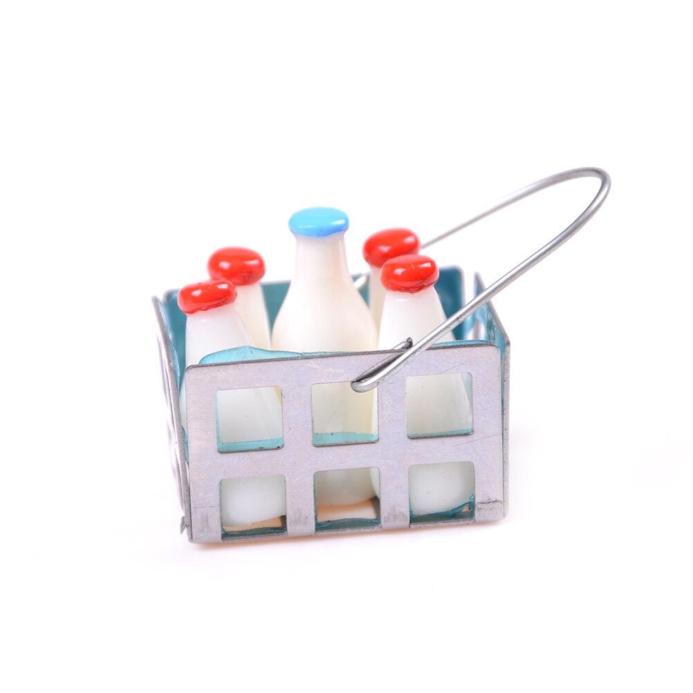 Miniature Milk Bottles /& Miniature Beverages in Basket Milk bottle Kitchen new.