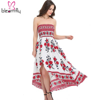 2017 Women Long Maxi Dresses Summer Sexy Party Beach Casual Dress Sleeveless Floral Robe Sundress Boho