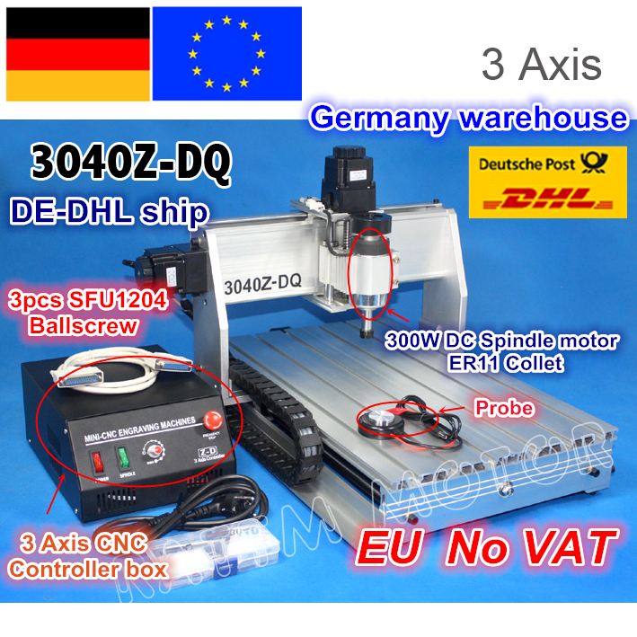 EU ship Free VAT NEW 3 Axis 3040Z DQ 300W Ball screw CNC ROUTER ENGRAVER ENGRAVING