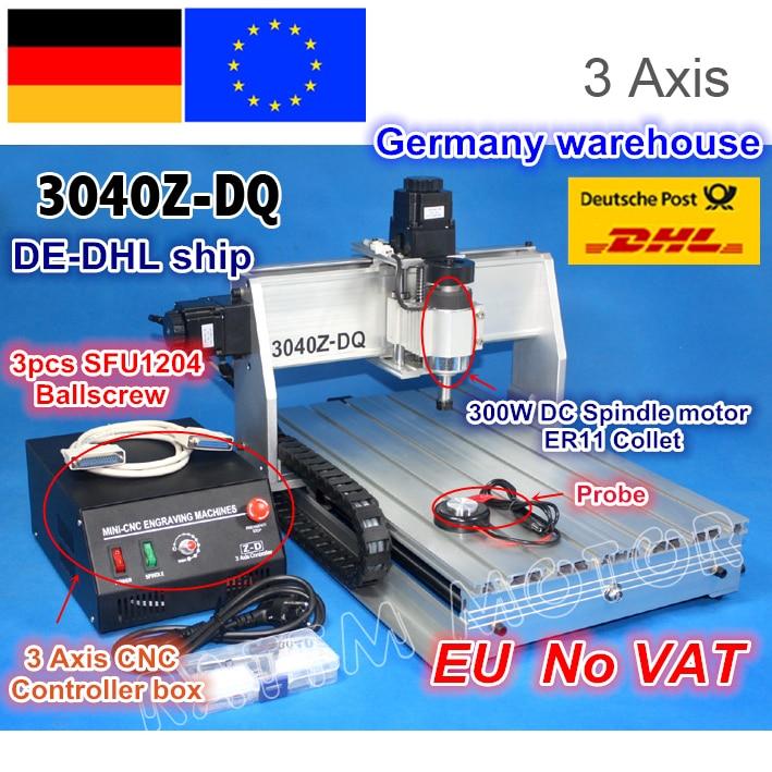 EU Ship/Free VAT NEW 3 Axis 3040Z-DQ 300W Ball Screw CNC ROUTER ENGRAVER/ENGRAVING DRILLING/Milling Cutting Machine 220V/110V