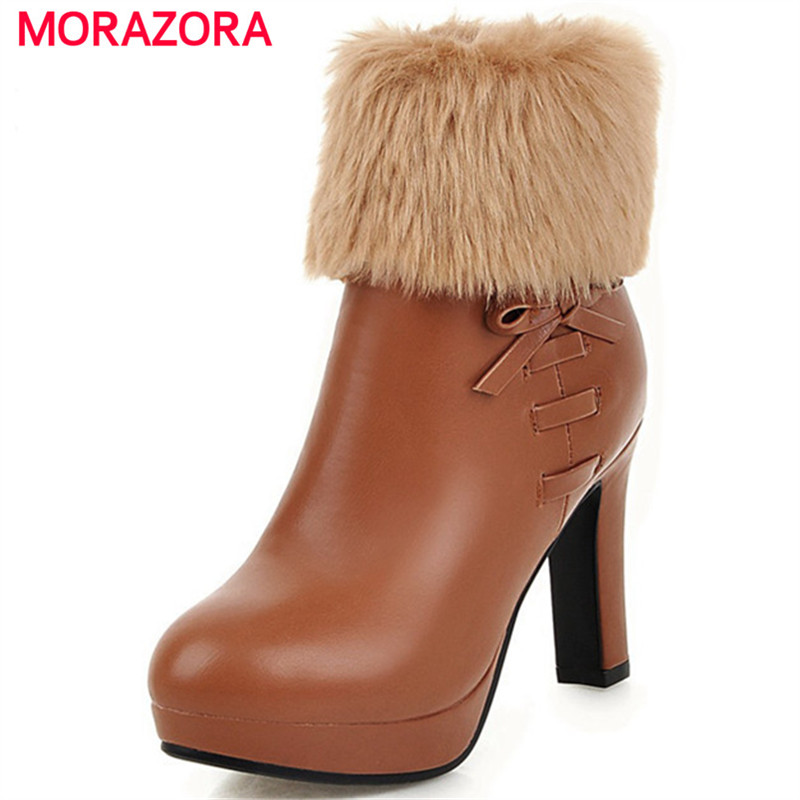 MORAZORA Large size 34-43 ankle boots for women in autumn winter high heels boots female platform shoes zip PU solid woman shoes enmayla ankle boots for women low heels autumn and winter boots shoes woman large size 34 43 round toe motorcycle boots