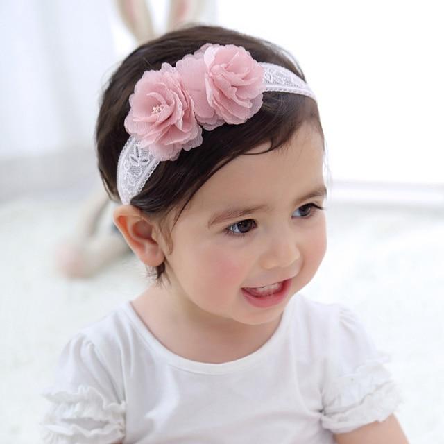 popular elastic pink flower headbands for baby girl elegant party wearing  mesh knitting headdress for child QJ-7 856db06aa98