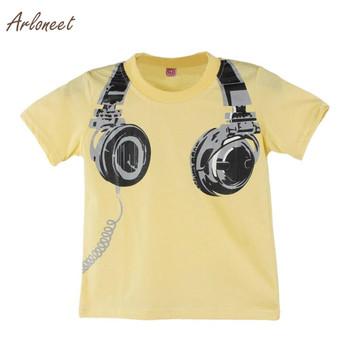 ARLONEET chłopiec dzieci lato casual słuchawki Krótki rękaw bluzki Koszulka T shirt koszulki Print Fashion Krótki rękaw O-Neck bawełna S3FEB6 tanie i dobre opinie Szczyty Tees Chłopców Moda t-shirt Pasuje do rozmiaru Weź swój normalny rozmiar Drukowania Regularne kids t-shirt for Boy