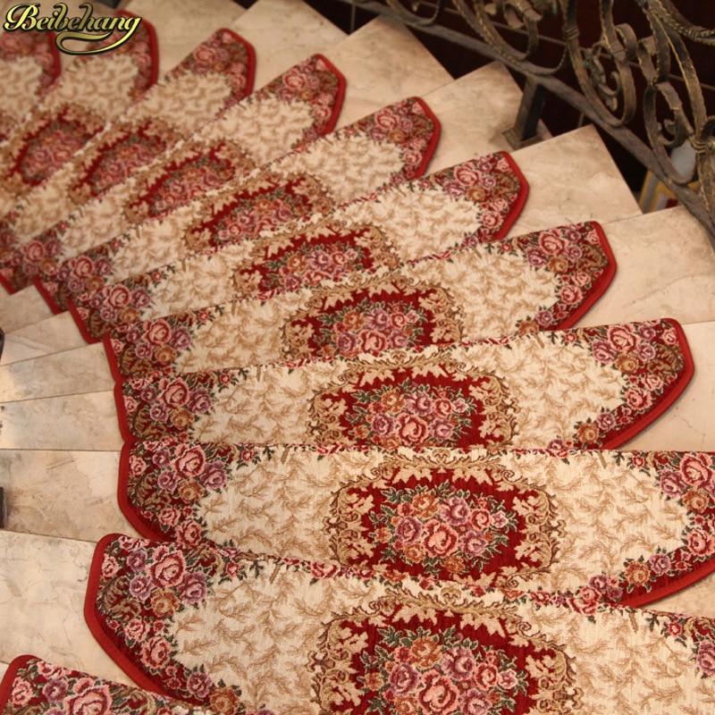 beibehang High-grade European pastoral wind stair mat glue-free self-adhesive step mat carpet anti-slip mat foot mat felpudo