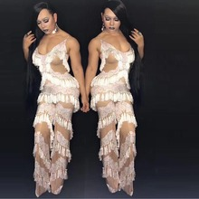 Sexy Nightclub clothes Sexy Show jumpsuit High-End Thin Tassels dress Woman Playing Distinguished Guest Gogo danwear