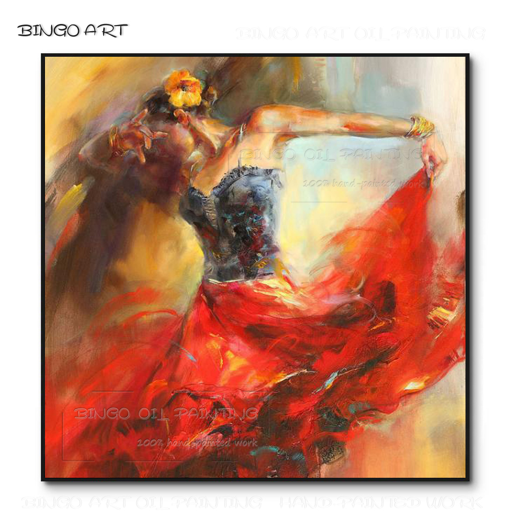 Professional Artist Hand-painted Abstract Spanish Dancer Oil Painting on Canvas Flamenco for Wall Decor