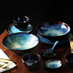 KINGLANG 2/4/6 osoba zestaw obiadowy japoński zestaw misek domowe ceramiczne zastawy stołowe zestaw glazury kolor wzór paw miska zestaw talerzy