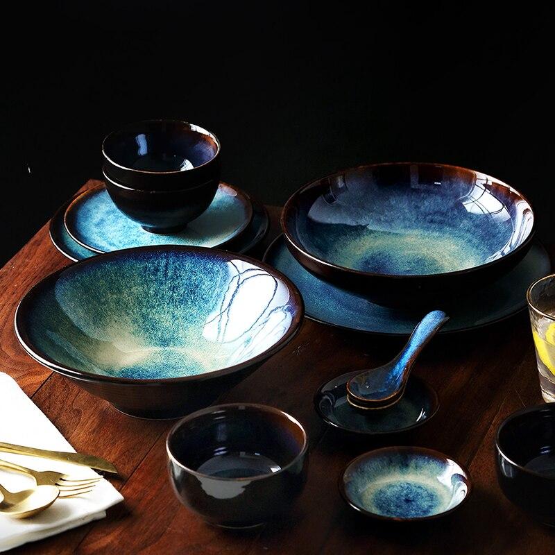 KINGLANG-ensemble de vaisselle en céramique | Dîner pour 2/4/6 personnes, ensemble de bols japonais, service de vaisselle ménager couleur glaçure motif paon