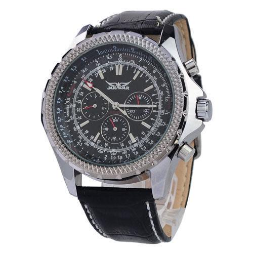 New 2017 JARAGAR Mens Black 6 Hand Week Date Mechanical Auto Wristwatch Gift Free Ship new forcummins insite date unlock proramm