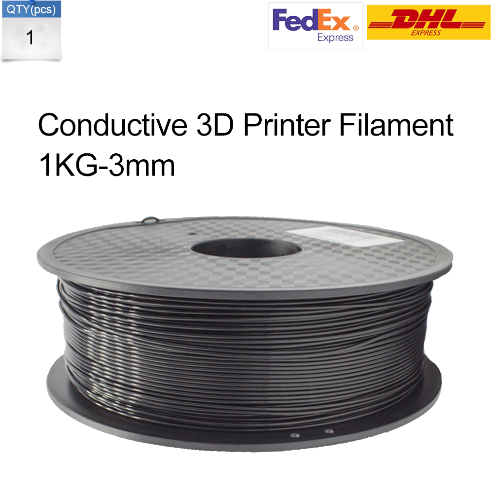 Send by DHL or Fedex Whole Sale Price Anet Black 3mm 1kg roll 3d Conductive Filament