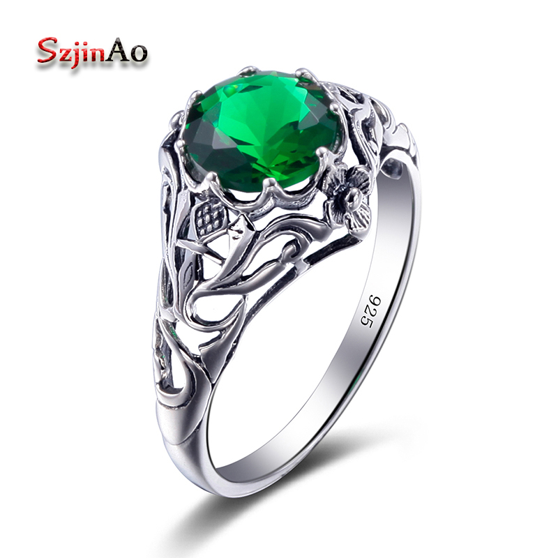 Szjinao Fashion Couple Ring Vintage Green Emerald 925 Sterling Silver Ring Bohemia Jewelry Rings for women Wedding DecorationSzjinao Fashion Couple Ring Vintage Green Emerald 925 Sterling Silver Ring Bohemia Jewelry Rings for women Wedding Decoration