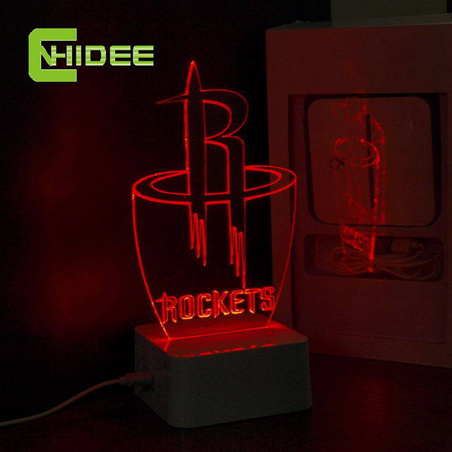 CNHidee USB Novelty Lamp for NBA Basketball Rockets Team LED Desk Lamp Creative 3D Night Lights as Home Decor