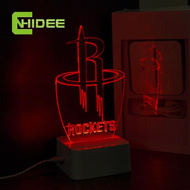 Cnhidee USB lâmpada novidade para NBA Basketball Rockets equipe LED Desk Lamp criativa 3D luzes da noite como decoração de casa