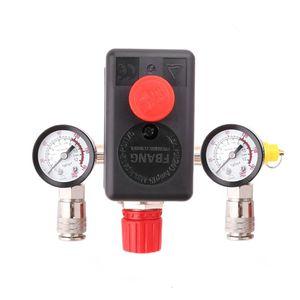 Image 2 - 220V 16A kontrola ciśnienia sprężarki powietrza zawór przełączający 0.5 1.25MPa z regulatorem kolektora i miernikami