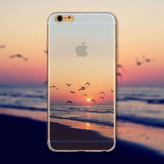 iPhone Case Cover For iPhone 6 6s 4.7″ Ultra Soft TPU Silicon Transparent Flowers Animals Scenery Mobile Phone Bag Cover