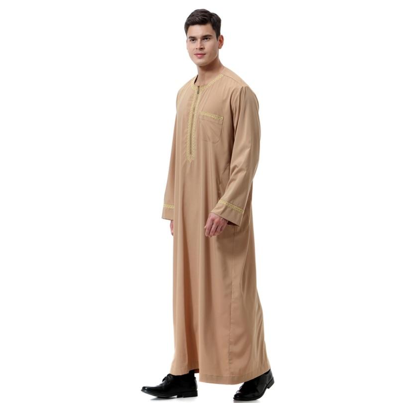 ファッション男性ローブイスラム教徒衣類長袖刺繍アラブドバイインド中東イスラム男 Jubba トーブプラスサイズ