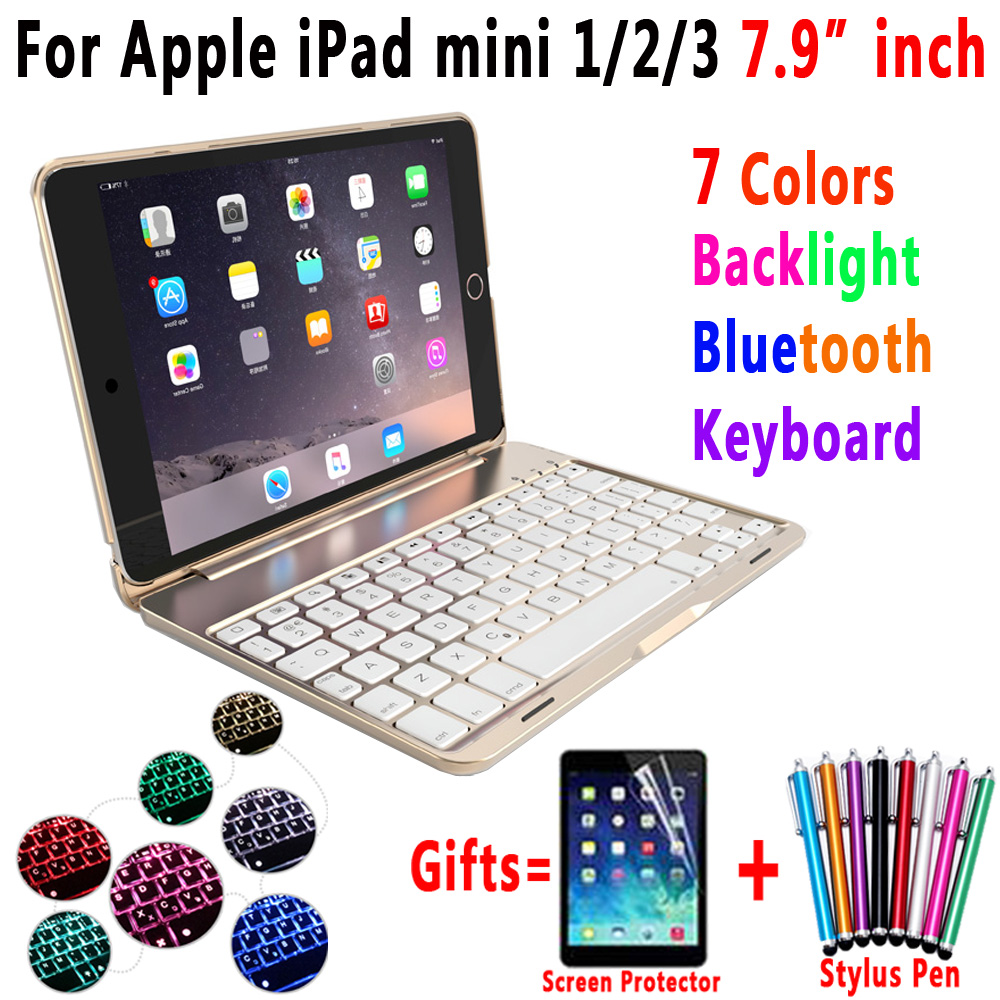 7 Color Backlit Aluminum Alloy Wireless Bluetooth Keyboard Smart Case Cover for Apple iPad mini 1