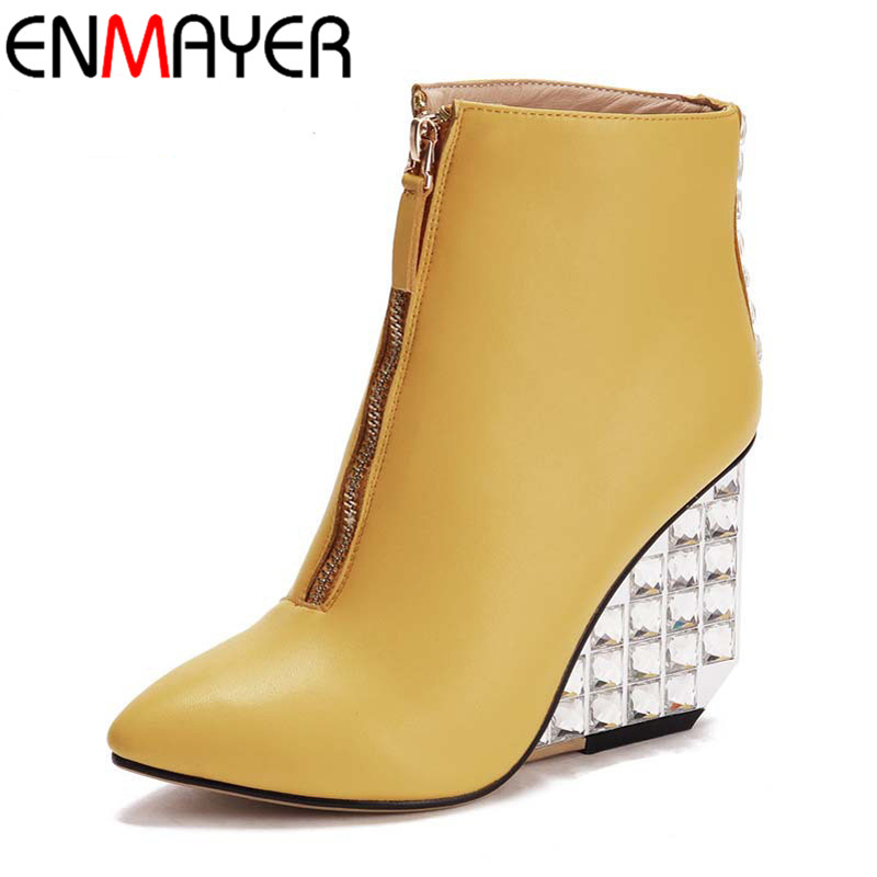 ФОТО ENMAYER Zippers Charm Pointed Toe Wedges High Heels Solid 4 Colors Shoes for Female New Fashion Style Winter Women Ankle Boots