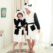 2016 New Autumn and Winter Sheep Cartoon Hooded Sexy Robes Coral velvet Panda Women Robes
