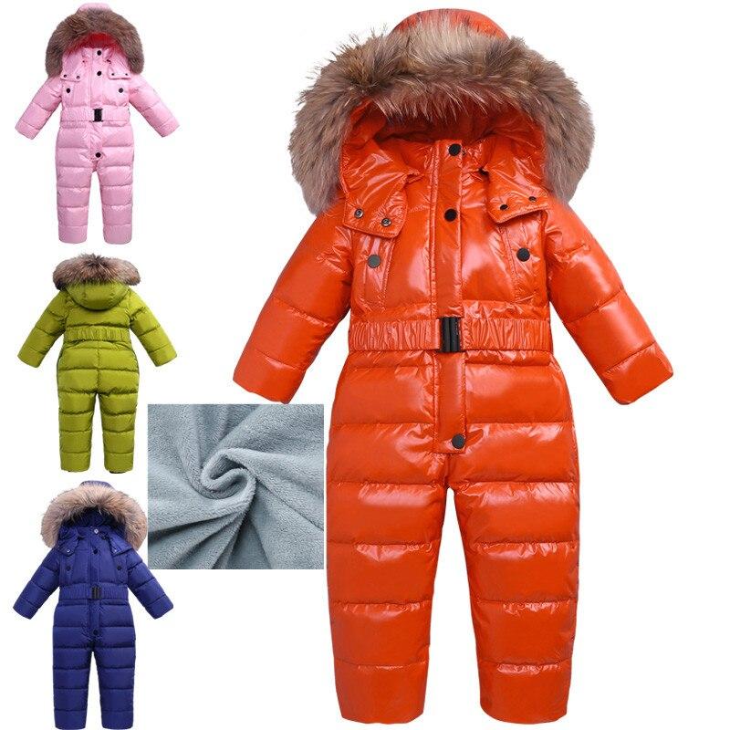 2018 nouveau 2-4 T bébé hiver combinaison barboteuse enfants chaud Snowsuit Racoon fourrure salopette enfant en bas âge Costume canard vers le bas garçon fille combinaisons