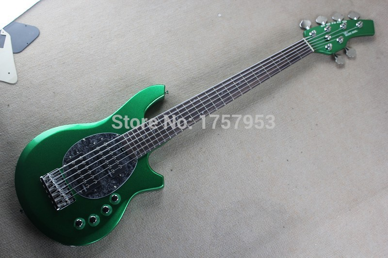 Free Shipping Factory Custom Shop new Music Man Metall Green Color 9V Battery Active Pickups 6 String Bass Electric Guitar 1 15