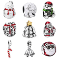 WYBEADS Silver Plated Charms Christmas Theme European Charm For Snake Chain Bracelet DIY Original Jewelry Making