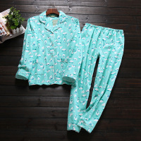 Autumn Casual 100 Flannelette Brushed Cotton Long Sleeve Women Pajama Sets Cute Cartoon Keep Warm Sleepwear