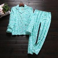 Autumn Casual 100 Flannelette Brushed Cotton Long Sleeve Women Pajama Sets Cute Cartoon Keep Warm Sleepwear