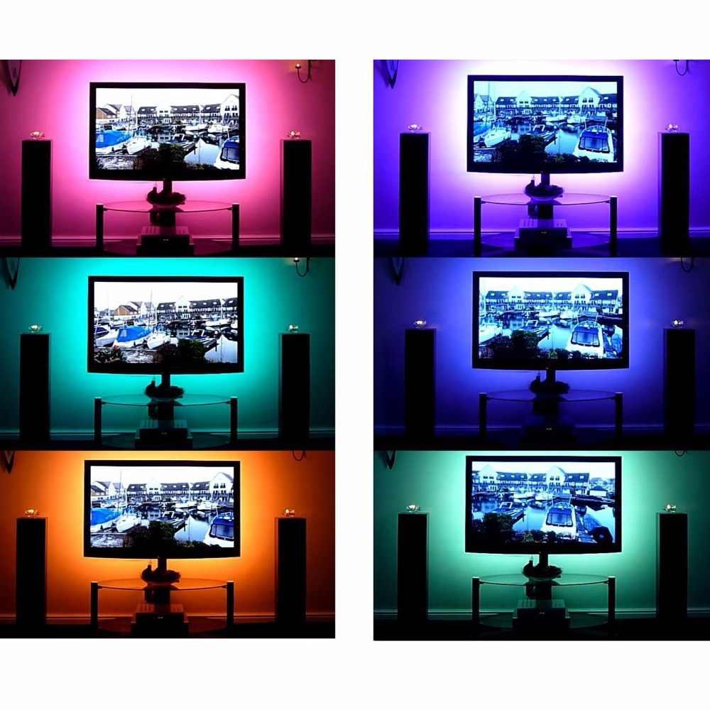 5 فولت 5050 smd rgb led قطاع الخفيفة التلفزيون الإضاءة الخلفي + usb 24key عن شاشة hdtv lcd tv desktop pc الخلفية التحيز إضاءة 1 متر 5 متر