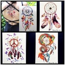 21x15CM Dreamcatcher Decal Waterproof DIY Tattoo Sticker Women Body Art Dream Catcher Indian Feather Temporary Tattoos Men