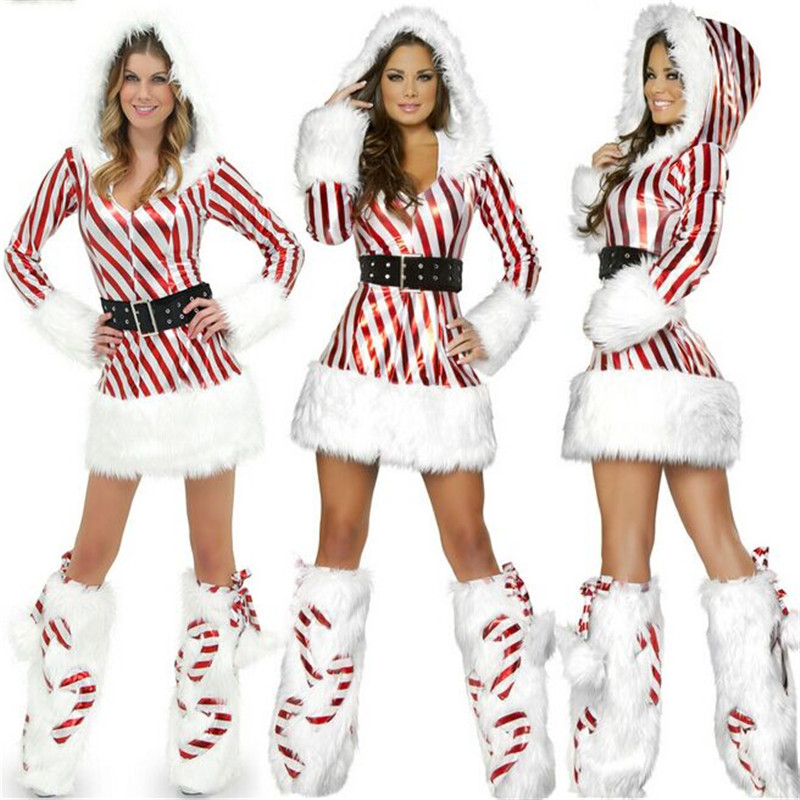 2018 New latest high quality  Fashion Sexy White and Red Strips Santa Costume Christmas Costume for Women