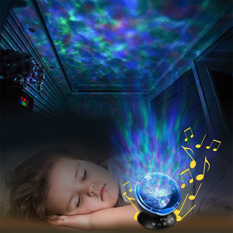 Ocean wave projector Starry Sky rechargeable Aurora LED Night Light Remote Novelty bedside children's sleepinp lamp music colour 7colors led night light starry sky remote control ocean wave projector with mini music novelty baby lamp led night lamp for kids