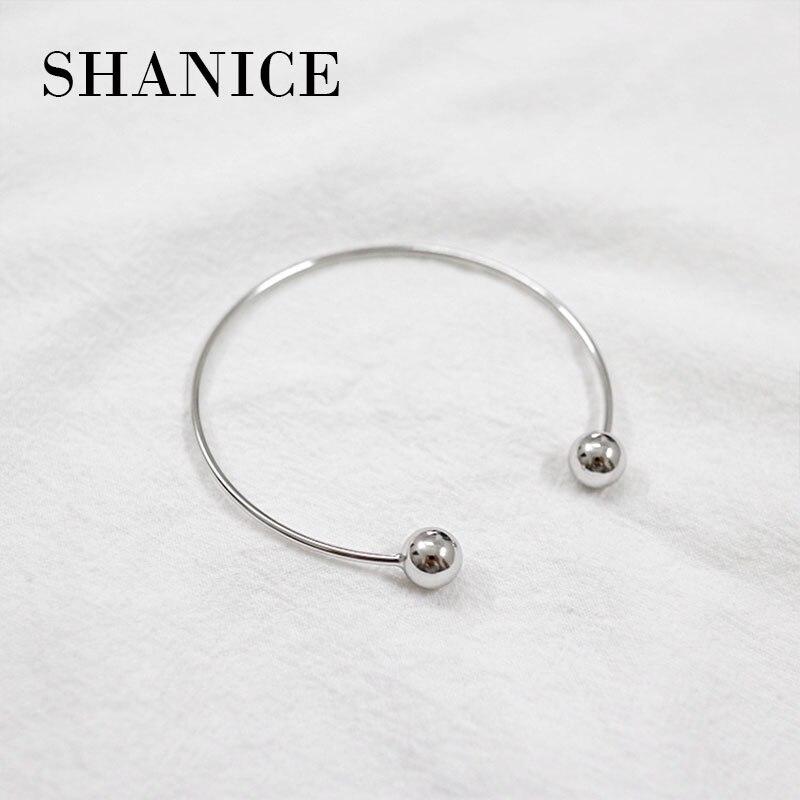 f2b089160ea SHANICE Authentic 925 Sterling Silver Bangle Bracelet Korea Double Ball  Beads Geometric thin line Open Bangles Bracelets Women
