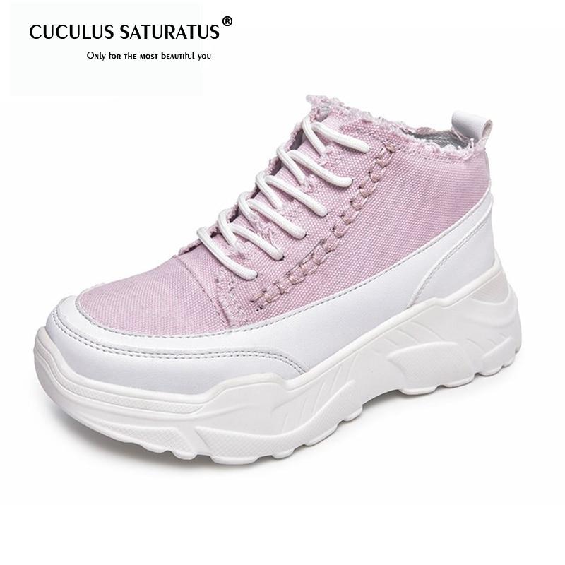 Cuculus Women Fashion Korean Women Shoes Casual Shoes Outdoor Walking Shoes Round Toe Canvas Platform Women Flats 35-40 1421