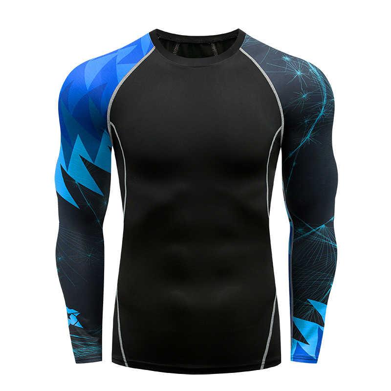 Herren Fitness Lange Ärmeln Rashguard T Shirt Männer Bodybuilding Haut Engen Thermischen Compression Shirts MMA Training Top Getriebe
