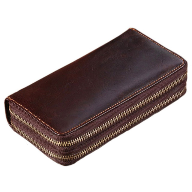 Luxury Retro Cow Leather Men Clutch Bag Long Genuine Leather Handbags Coin Purse Men Wallets Double Layer Business Clutch bags