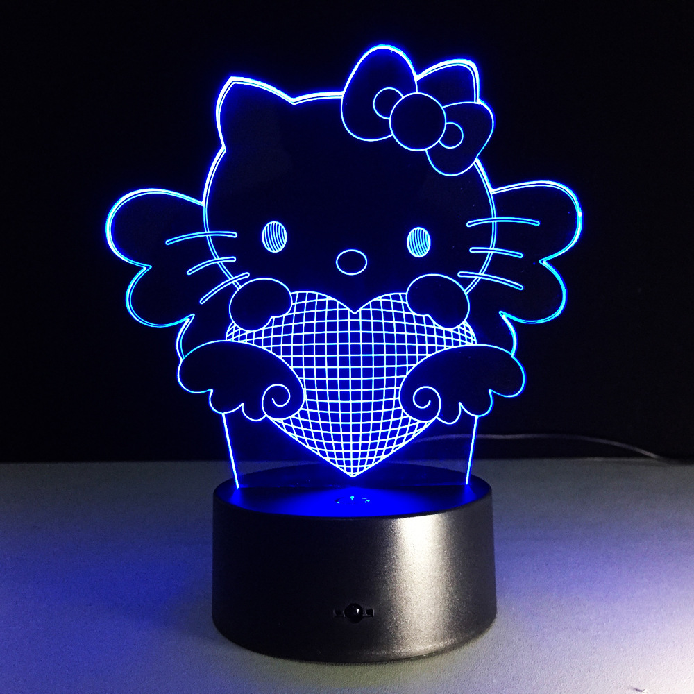 Night lights holiday - Hello Kt Cartoon Table Lamp With 3d Effect Led Night Light Holiday Light Fun Light For
