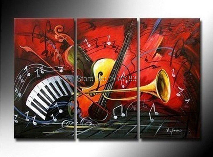 Hand Painted Modern Abstract Music Guitar Piano Oil