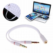 Ascromy 3.5mm AUX Audio Mic Y Splitter Cable Headphone Adapter Female To 2 Male cables For laptop Computer Accessories 10PCS