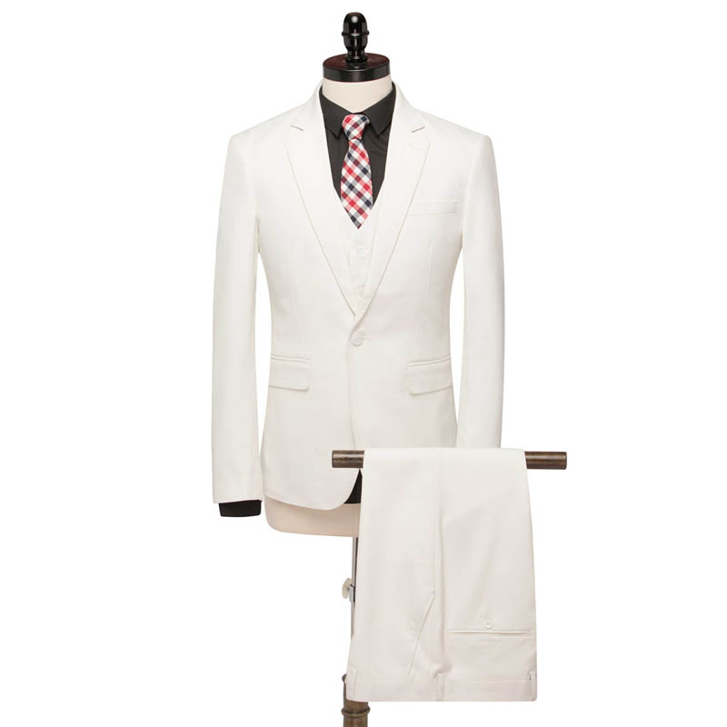FOLOBE Beige Men Suits For Wedding Groom Suit Men 2019 Homme Mariage Formal Flat Blazer Ternos 3 Piece Groom Style