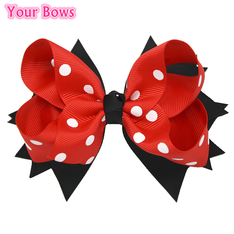 Your Bows 1PC 5Inches Back To School Hair Bows Kids Hairpin Boutique Ribbon Bows Hair Clips For Girls Hair Accessories 1 set new girls colorful carton hair clips small crabs hair claw clips mini hairpin kids hair ornaments claw clip