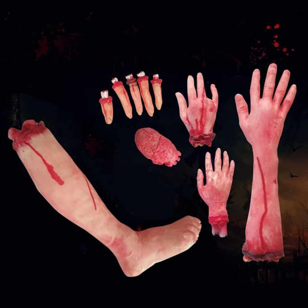 Horror Adereços Halloween Casa Assombrada Decoração Do Partido Assustador Sangrento Mão Mão Falso Dedo Do Pé Da Perna de Cérebro e Coração Fontes Do Dia Das Bruxas
