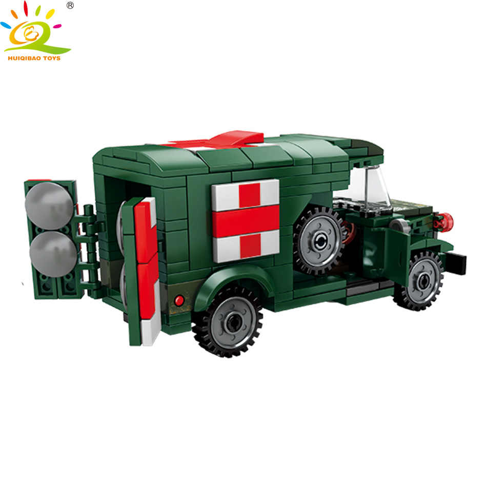 HUIQIBAO لعب 262 قطعة الإسعاف العسكرية اللبنات للأطفال متوافق legoinglys WW2 مركبة الجيش شاحنة جندي الطوب