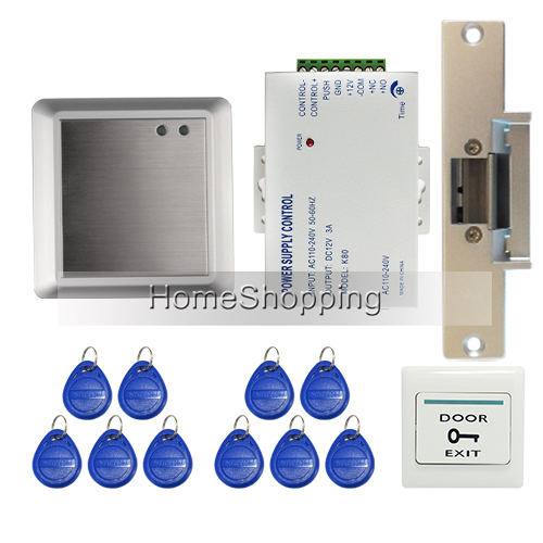 ФОТО Non-Keypad Waterproof Rfid Door Access Control Kit Set With Electric Strike Lock + RFID keyfob + Remote Controller FREE SHIPPING
