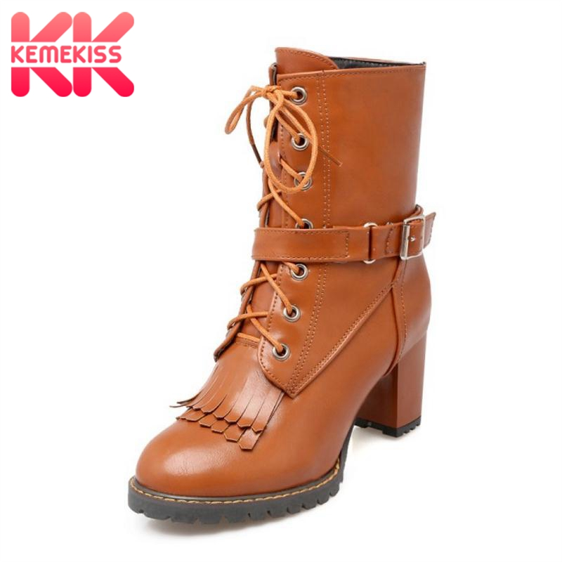 цена KemeKiss Plus Size 30-47 Women High Heels Boots Thick Fur Winter Shoes Women Tassels Cross Strap Fashion Warm Mid Calf Boots